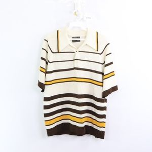 60s Towncraft Mens Large Striped Polo Shirt White